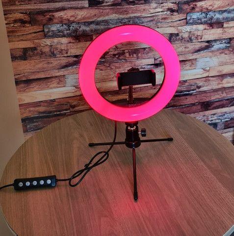 Luz Ring Light RGB 8 Pol 20cm colorido + Tripé De Mesa + Suporte Para Celular