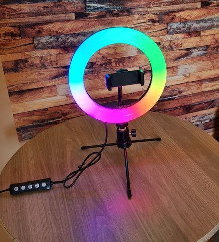 Luz Ring Light RGB 8 Pol 20cm colorido + Tripé De Mesa + Suporte Para Celular - Foto 3
