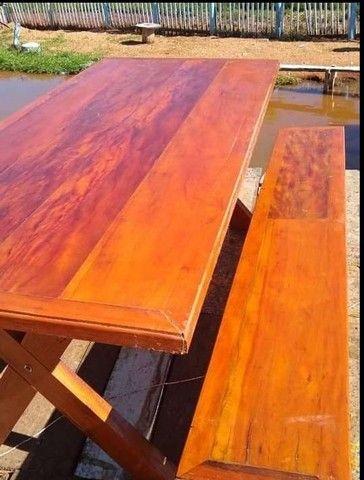 Mesa com bancos 2 metros de comprimento por 90cm largura  - Foto 2