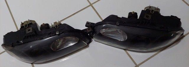 Par de faróis originais Fiat marea brava máscara negra lente lisa