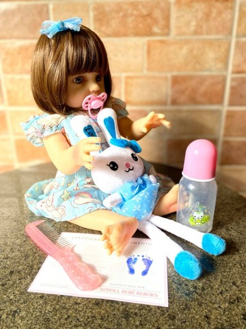 Bebê Reborn toda em Silicone realista olhos azuis nova Original (aceito cartão ) - Foto 6