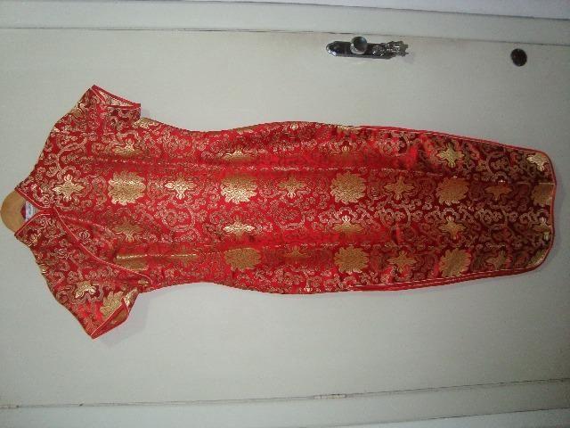 Vestido Japonês Vermelho/ dourado