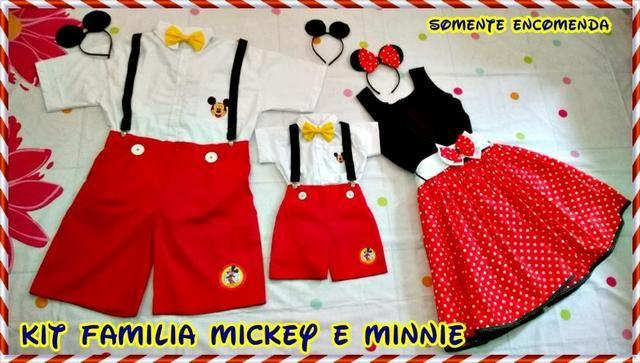1ab682e460f930 Kit Família Tal Pai, Tal Mãe, Tal Filho Mickey e Minnie