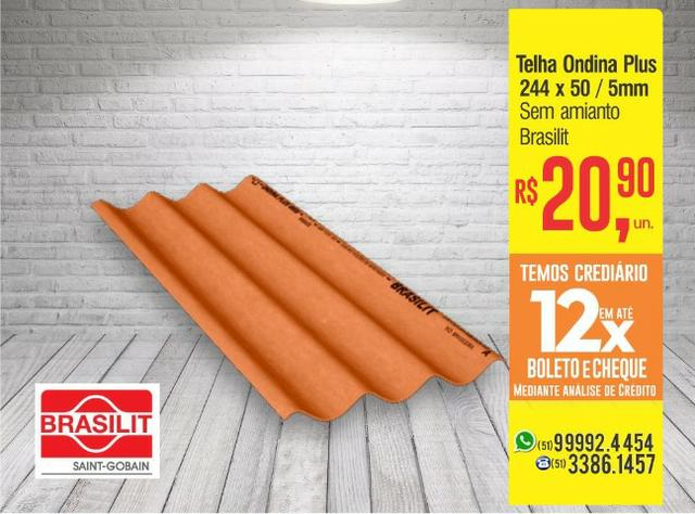 Telha de Fibrocimento Ondina Plus - Cor Cerâmica | 244 x 50 - 5mm