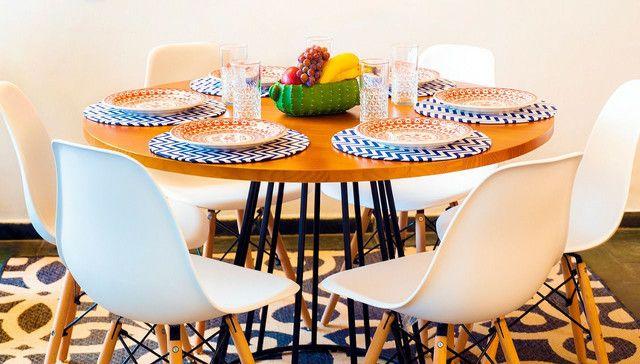 Mesa redonda estilo industrial + 4 cadeiras  - Foto 3