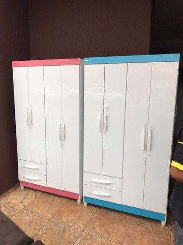 Guarda roupas 4 portas 2 gavetas novo entrego e monto  - Foto 5