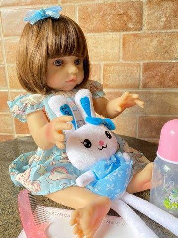 Bebê Reborn toda em Silicone realista olhos azuis nova Original (aceito cartão ) - Foto 3