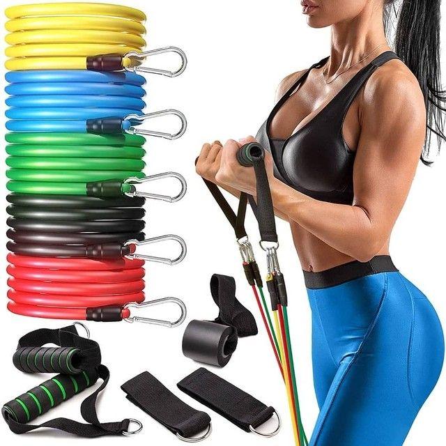 Kit elasticos para exercícios e treinos em casa musculação academia  - Foto 3