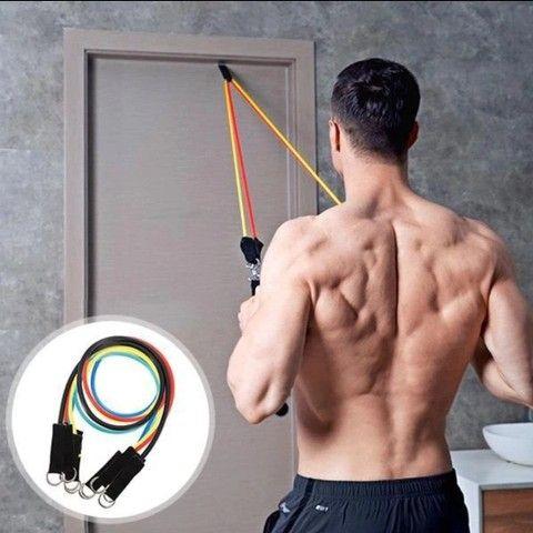Kit elasticos para exercícios e treinos em casa musculação academia  - Foto 4