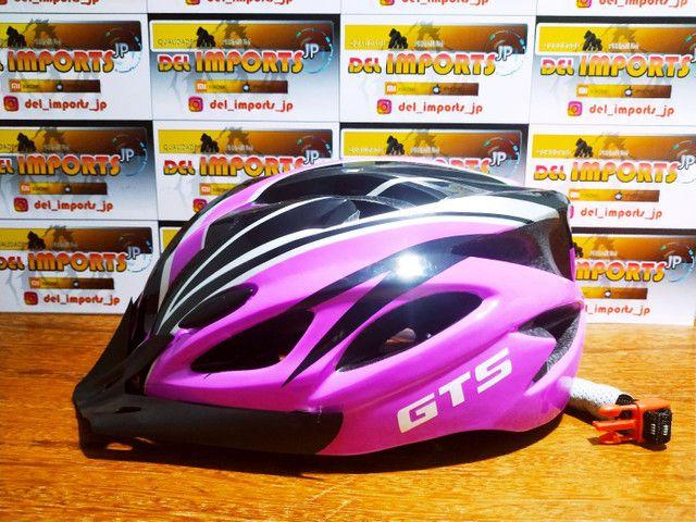 Capacete GTS rosa com LED - Foto 2