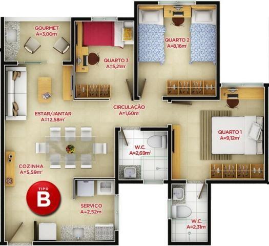 Villa Milano - Apartamento 59,79m² com 3 quartos Parque 2 Irmãos - Foto 9