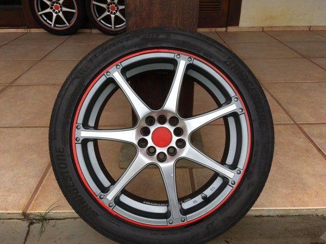 """jogo de rodas R18x7,5"""" multi-furos com pneus - Foto 2"""