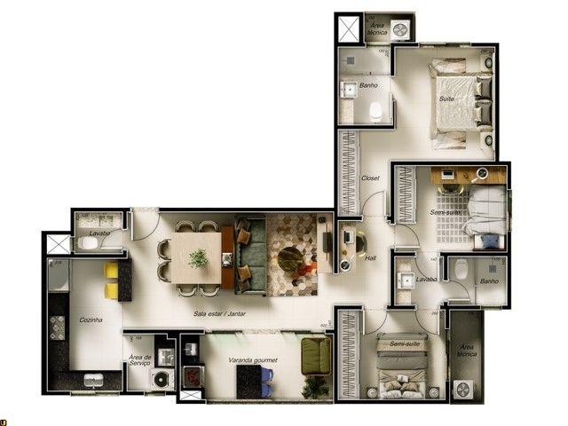 Apartamento com 3 quartos | 1 suíte e 2 semi-suítes | Varanda Gourmet | 2 vagas | Bairro F - Foto 5
