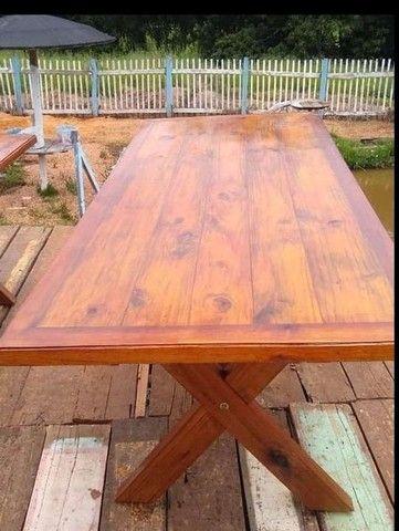 Mesa com bancos 2 metros de comprimento por 90cm largura  - Foto 3