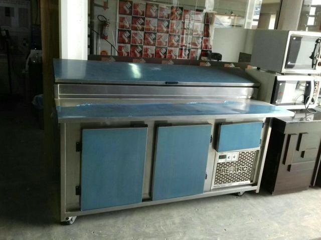 Balcão frigorifico condimentador, com cubas refrigeradas, pizzaria/hamburgueria - Foto 2