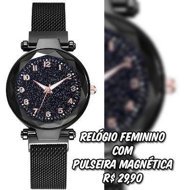 Relógio Feminino com Pulseira Magnética
