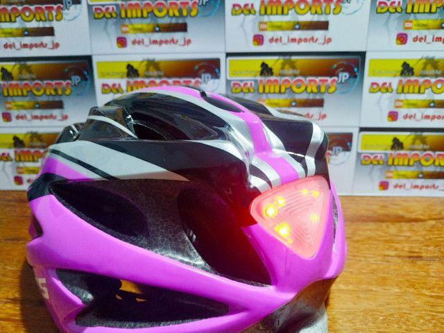 Capacete GTS rosa com LED - Foto 4