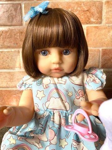 Bebê Reborn toda em Silicone realista olhos azuis nova Original (aceito cartão ) - Foto 5