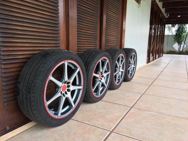 """jogo de rodas R18x7,5"""" multi-furos com pneus - Foto 6"""