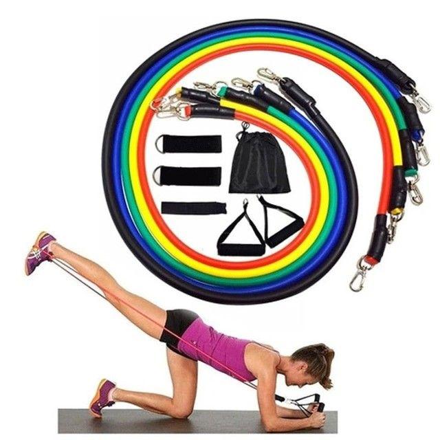 Kit elasticos para exercícios e treinos em casa musculação academia  - Foto 2