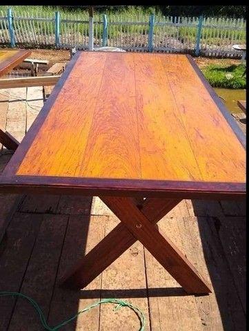 Mesa com bancos 2 metros de comprimento por 90cm largura  - Foto 4