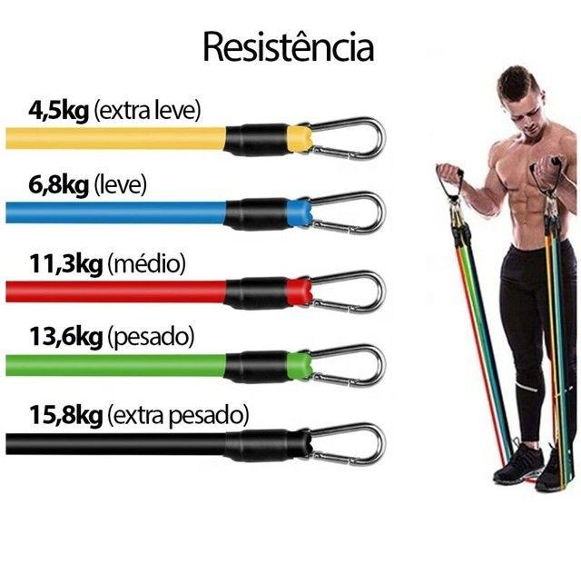 Kit elasticos para exercícios e treinos em casa musculação academia  - Foto 6