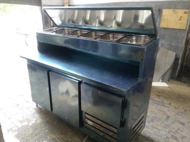 Balcão frigorifico condimentador, com cubas refrigeradas, pizzaria/hamburgueria