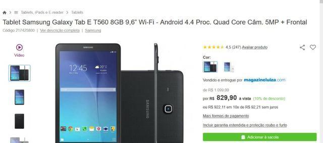 079eaf491 Tablet Samsung Galaxy Tab E 9.6 Wi-Fi SM-T560 com Tela 9.6