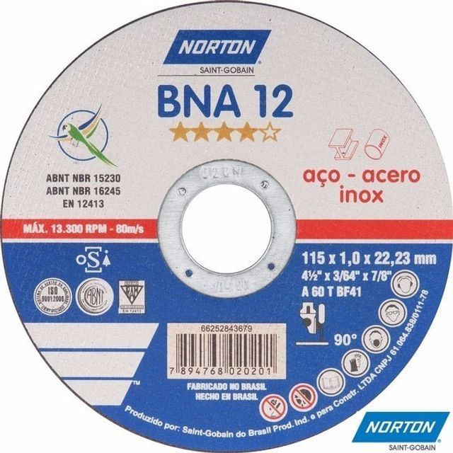 Disco Corte Bna 12 Norton 4 1 /2 Polegadas