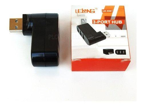 Mini Hub 180 Graus Com 3 Portas Usb Lelong - Le-5561 - Foto 3
