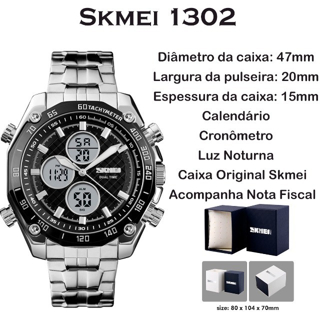Relógio Masculino Skmei 1302 a Prova d'água Digital e Analógico - Foto 5