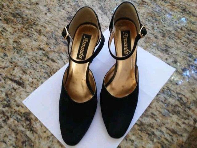 Sapato scarpin, número 38, preto, nobuk, salto 8,5 cm. - Foto 2