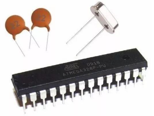 COD-AM241 Kit Arduino Atmega328 Bootloader Capacitor E Cristal Arduino Automação Robot