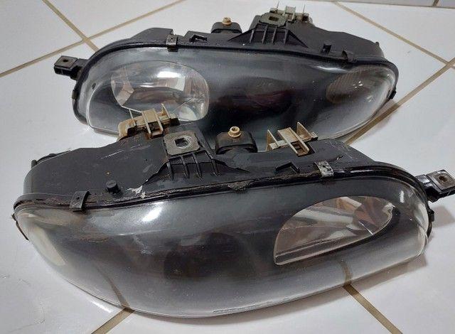 Par de faróis originais Fiat marea brava máscara negra lente lisa  - Foto 6