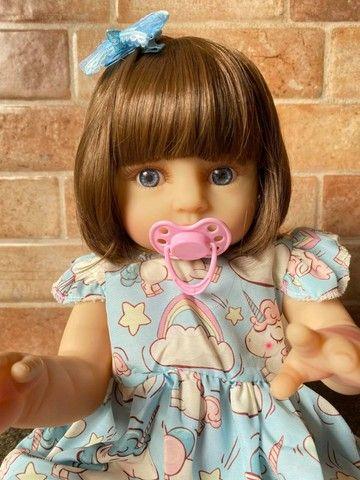 Bebê Reborn toda em Silicone realista olhos azuis nova Original (aceito cartão ) - Foto 4