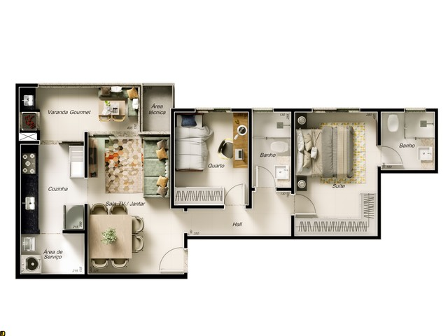 Apartamento com 2 quartos   1 suíte   Varanda Gourmet   2 vagas   Bairro Jardim Finotti - Foto 4