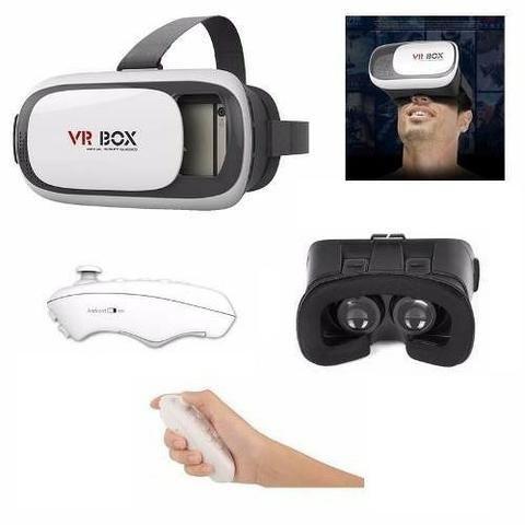 15e93e47e Óculos Vr Box 2.0 Realidade Virtual 3d Android Com Controle ...