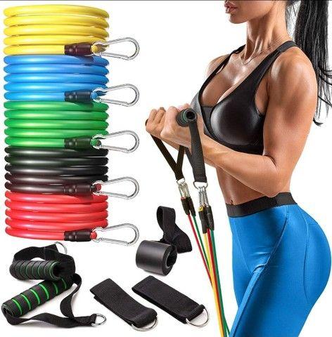 Kit elasticos para exercícios e treinos em casa musculação academia  - Foto 5