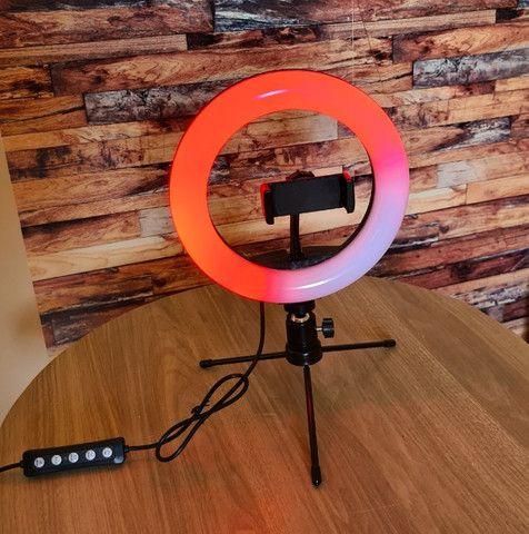 Luz Ring Light RGB 8 Pol 20cm colorido + Tripé De Mesa + Suporte Para Celular - Foto 2