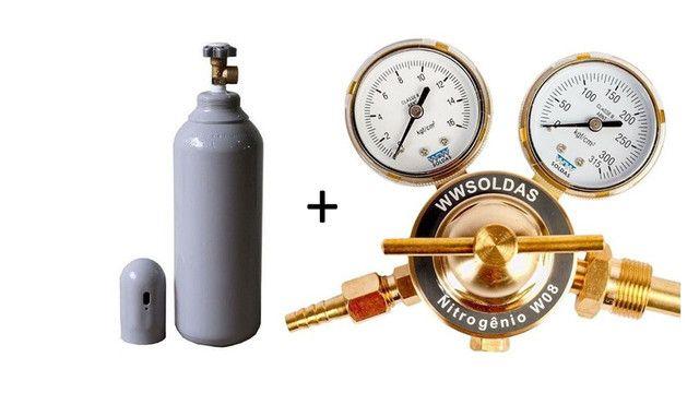 Regulador de Pressão 180psi + Cilindro 7L Nitrogênio Refrigeração Novo