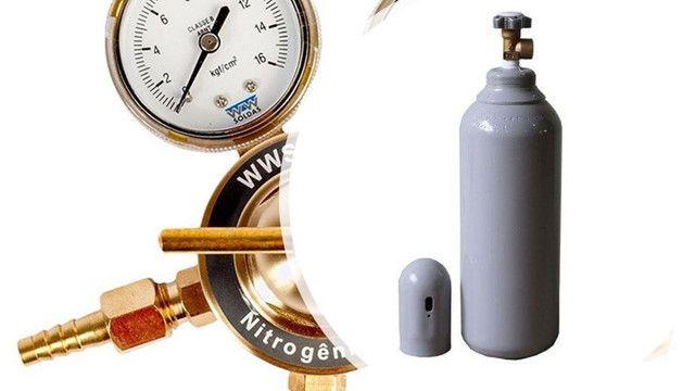 Regulador de Pressão 180psi + Cilindro 7L Nitrogênio Refrigeração Novo - Foto 3