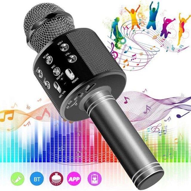 Microfone Bluetooth Karaoke Youtuber Gravador Com Som Ws-858 - Foto 5