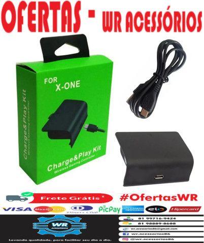 Kit Bateria + Cabo  Controle Xbox One - ENTREGA GRÁTIS