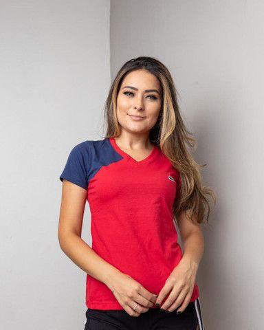 Camiseta Feminina Recortada Premium Bordada Cod4 - Foto 5