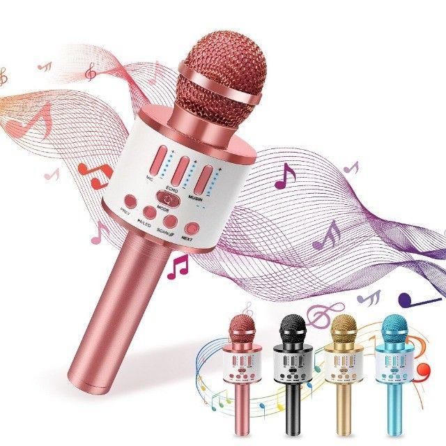 Microfone Bluetooth Karaoke Youtuber Gravador Com Som Ws-858 - Foto 3