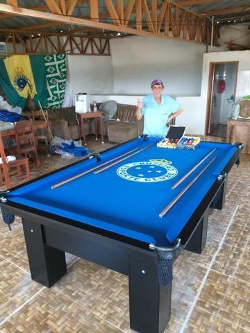 Mesa Charme | Carlin | Cor Preta | Tecido Azul | Logo Cruzeiro - Foto 2