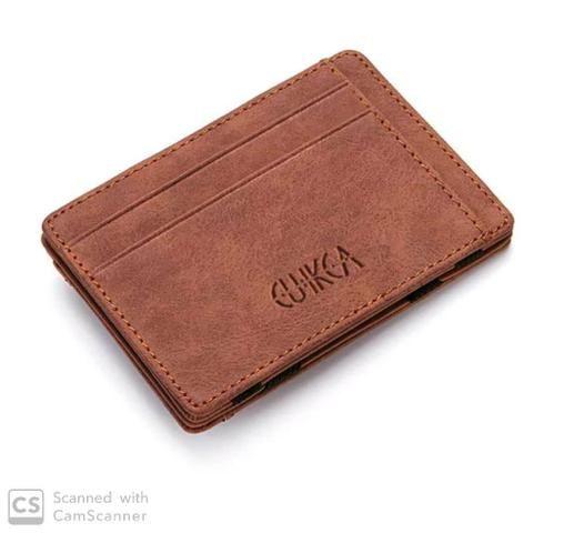 Carteira de couro slim pequena Etya Magic clip com zíper porta moedas - Foto 2
