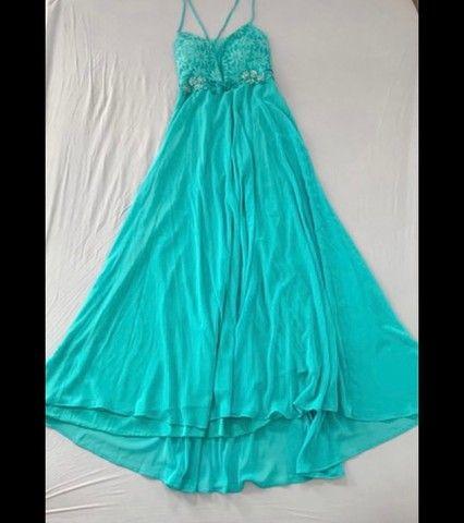 Vestido para festa (ciano/verde água/turquesa)