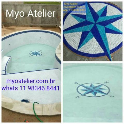 Mandala para piso, parede, piscina, rosa dos ventos, tapete mosaico