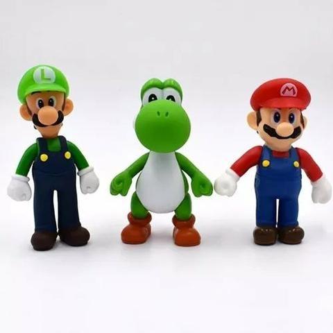 3 Bonecos Super Mario Bros Yoshi, Luigi, Mario Grandes 13cm